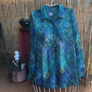 Pretty J. Jill Green/Blue Blouse Size Small